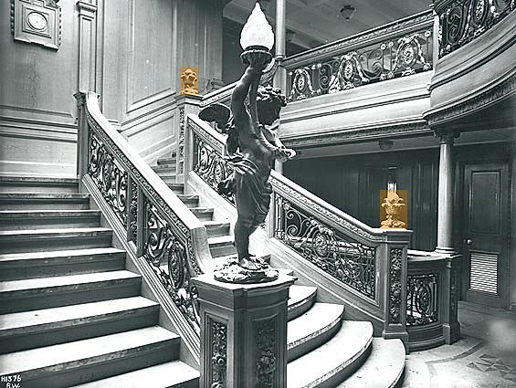 Aft first-class staircase on the Titanic and Olympic ships featured the same style of carved oak pineapple finials as those on the forward Grand Staircase.
