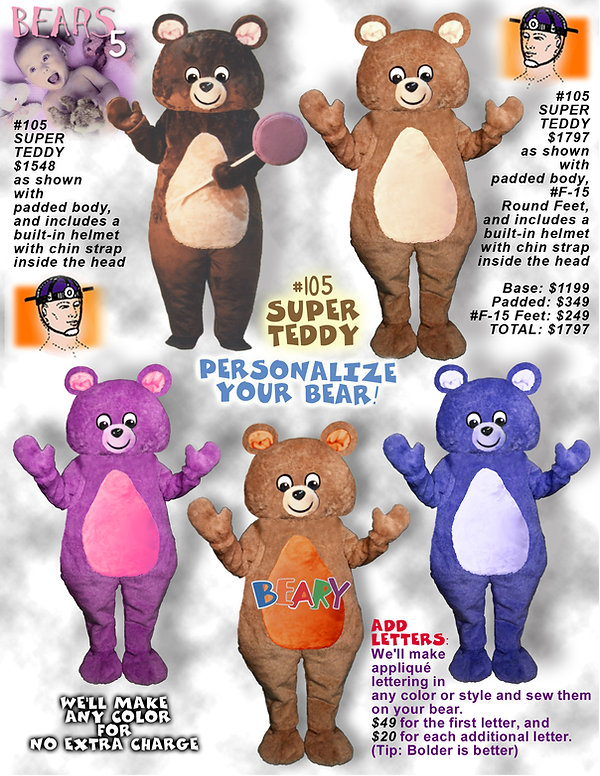 Facemakers Bear Mascot Costumes