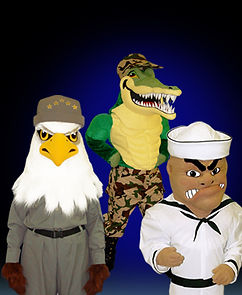 Eagle and gator military mascot costumes