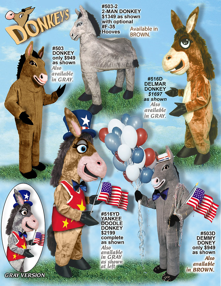 Facemakers Donkey mascot costumes