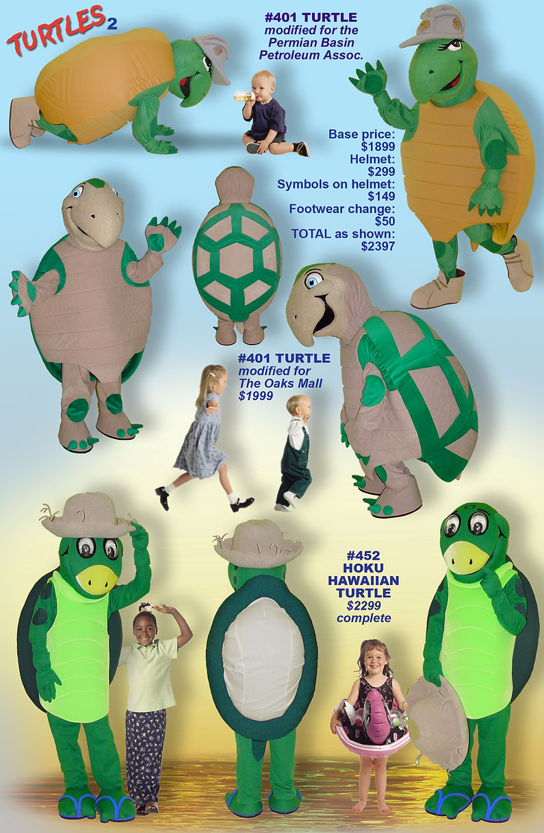 Facemakers Hoku turtle mascot costumes