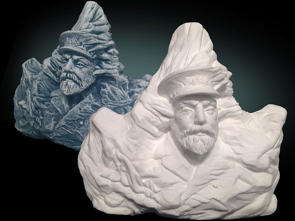 Titanic sculptor Alan St George's Captain Smith carved into the iceberg that destroyed his ship.