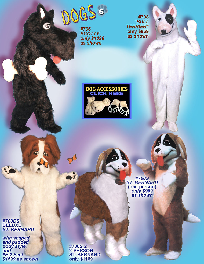 Facemakers Scotty Dog mascot costumes
