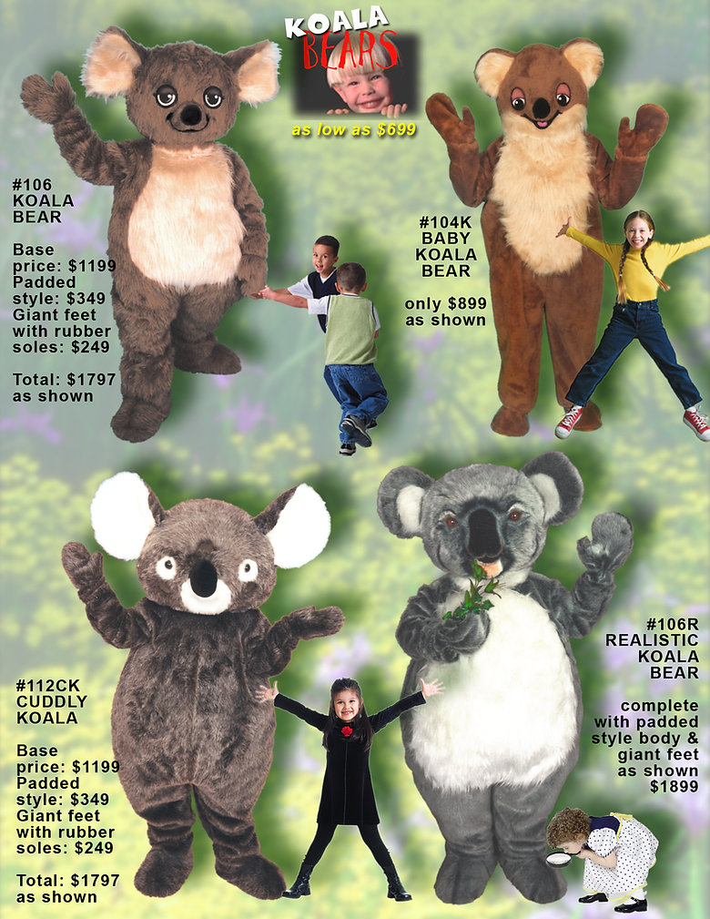 Facemakers Koala Mascot Costumes