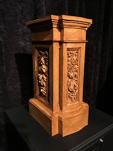 Titanic cherub pedestal in golden oak finish (custom color).