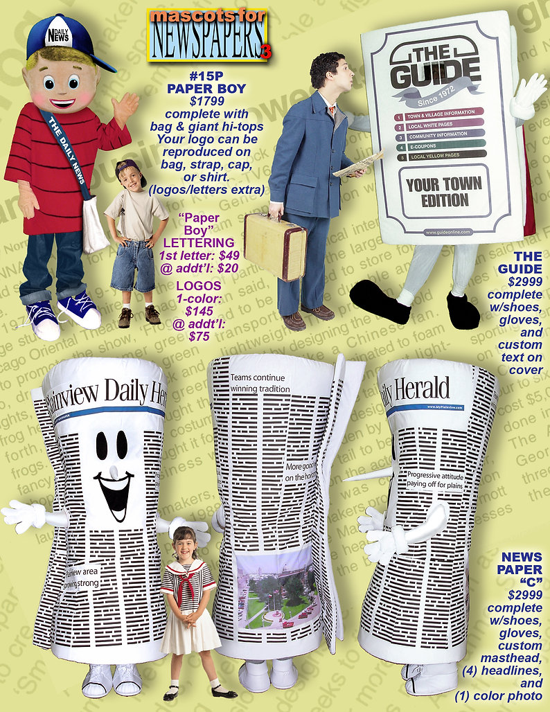 Facemakers Newspaper Corporate Mascot Costumes