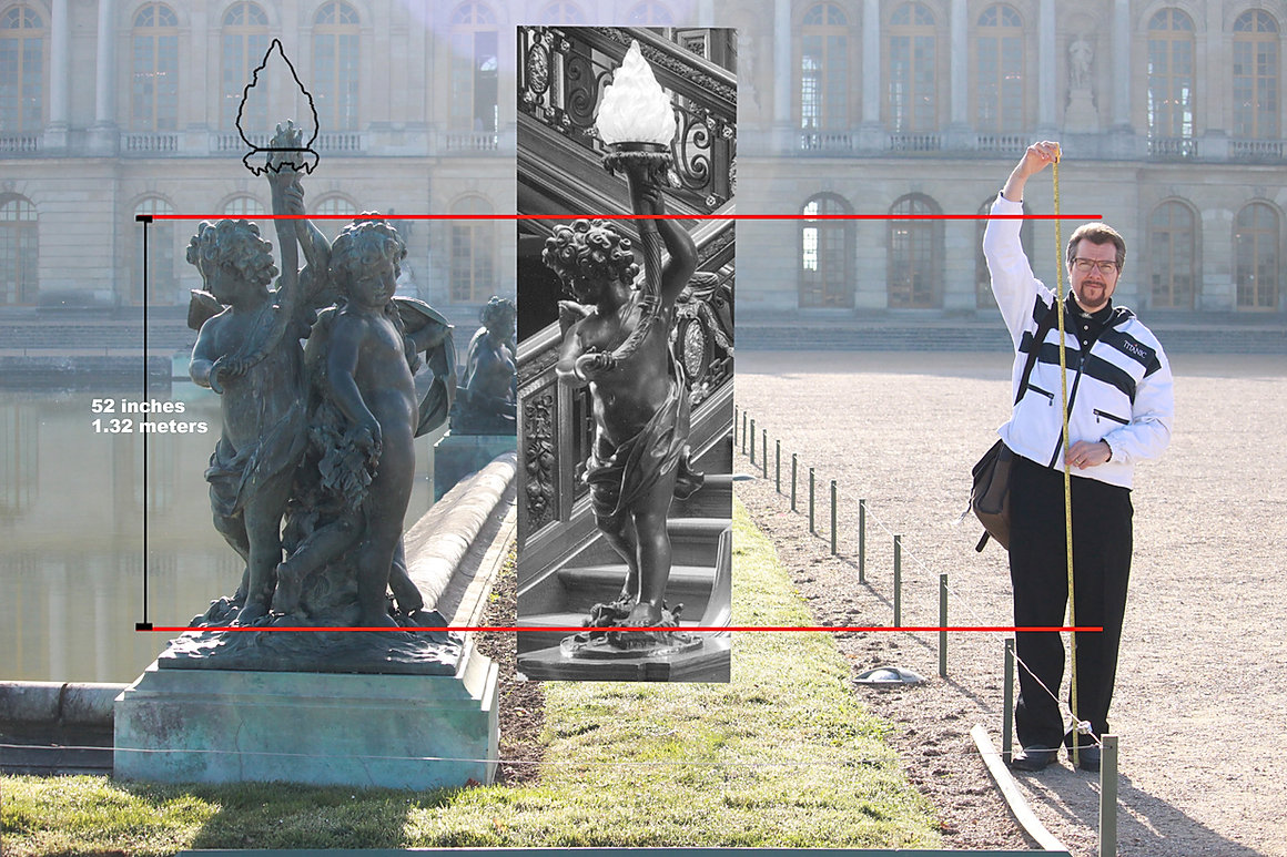 "Alan St. George researches the Versailles statue by Pierre Granier ""L'enfant avec la torche"" which  is the Titanic cherub lamp prototype."