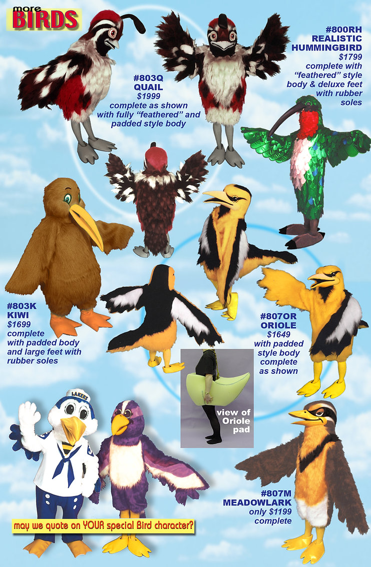 Facemakers Bird Mascot Costumes