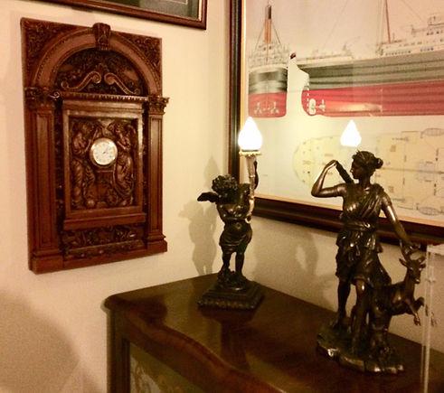 Titanic clock, cherub, and Diana statue replicas