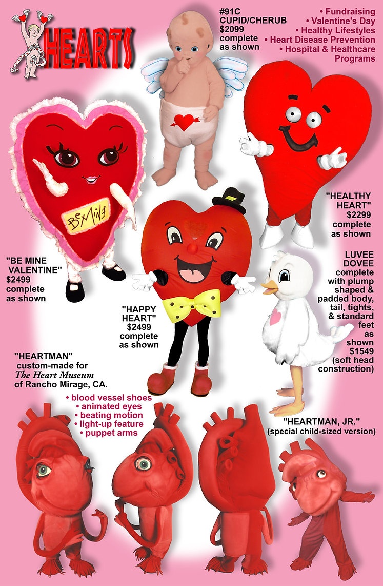 Facemakers Heart Mascot Costumes