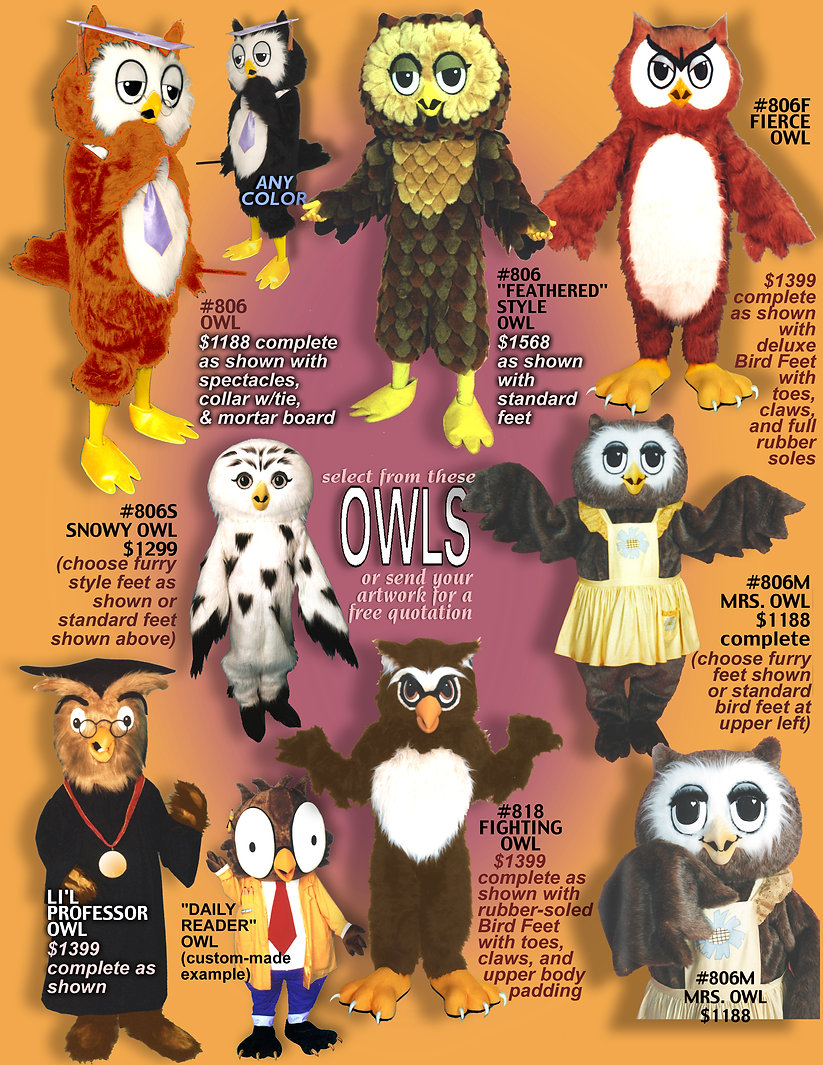 Facemakers Owl Mascot Costumes
