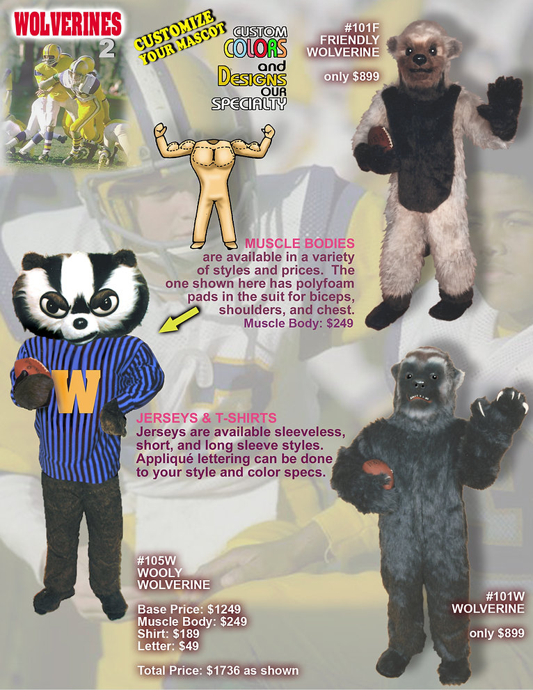 Facemakers Wolverine Mascot Costumes