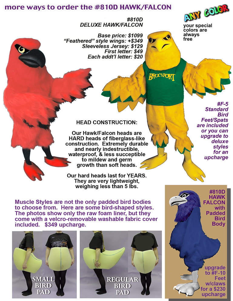 Facemakers falcon/hawk mascot costumes