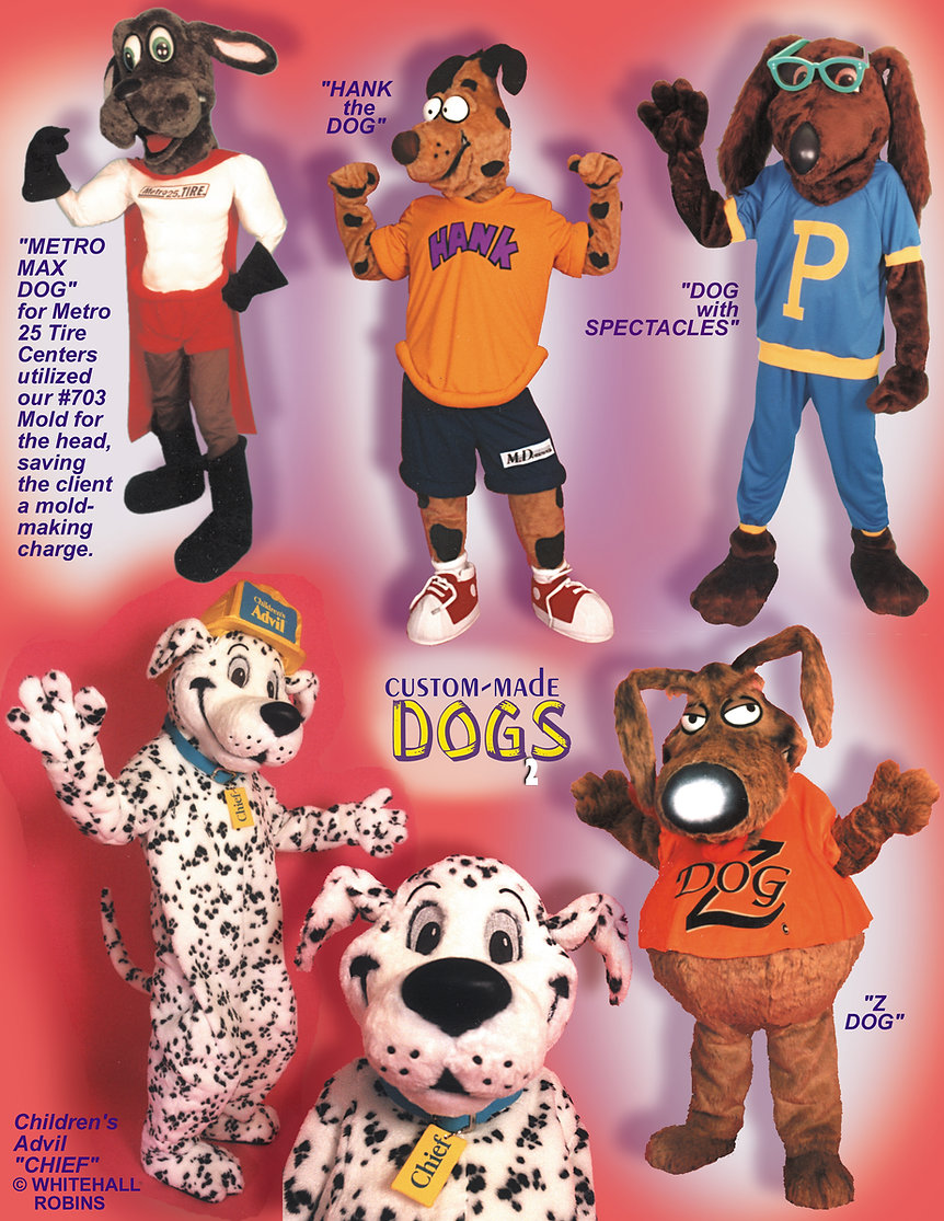 Facemakers custom-made dog mascot costumes