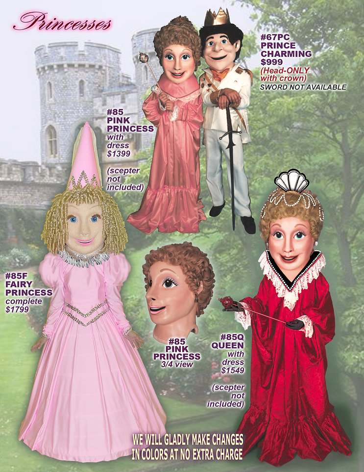 Facemakers Princess Mascot Costumes