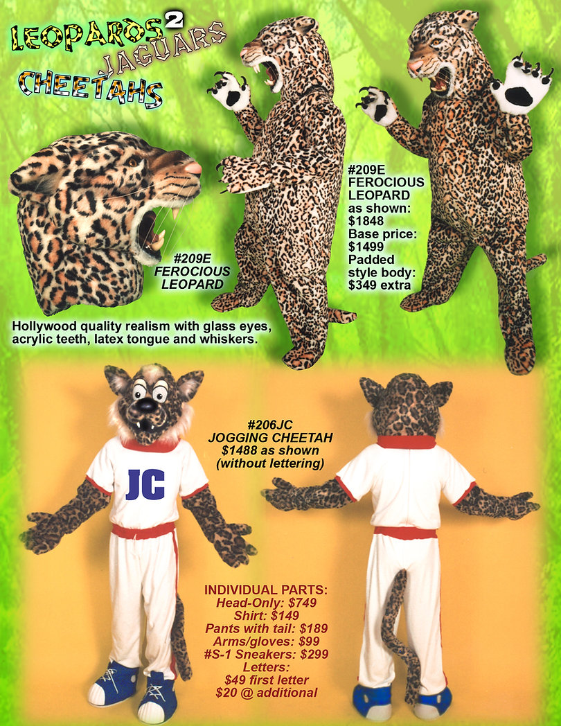 Facemakers Cheetah mascot costumes