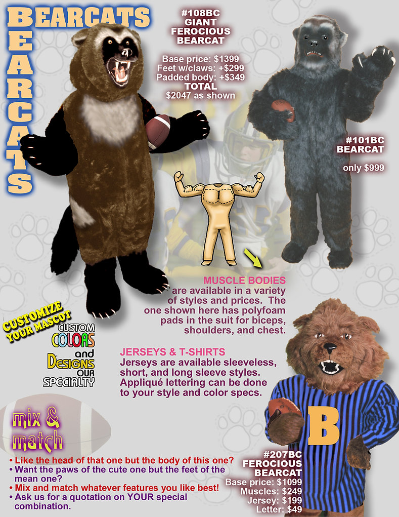 Facemakers Bearcats mascot costumes