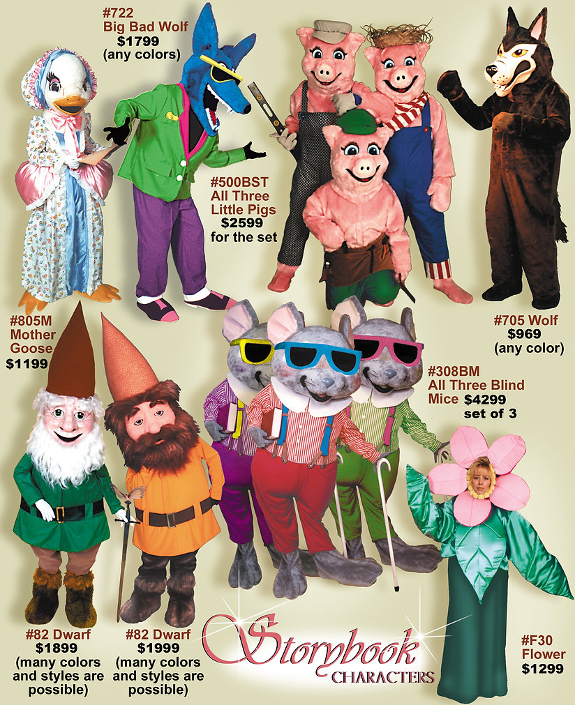 Facemakers Storybook Mascot Costumes