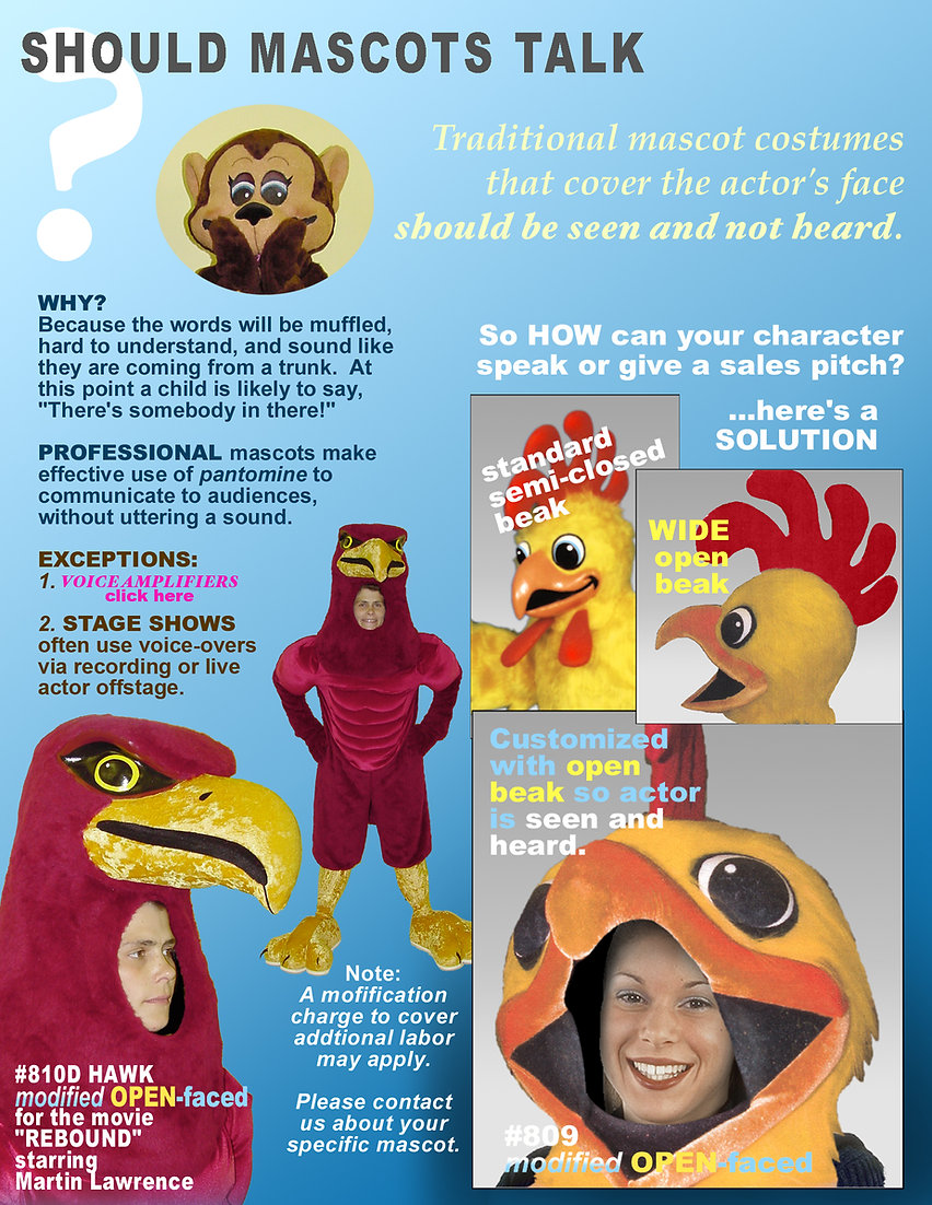 Facemakers Open-faced Mascot Costumes