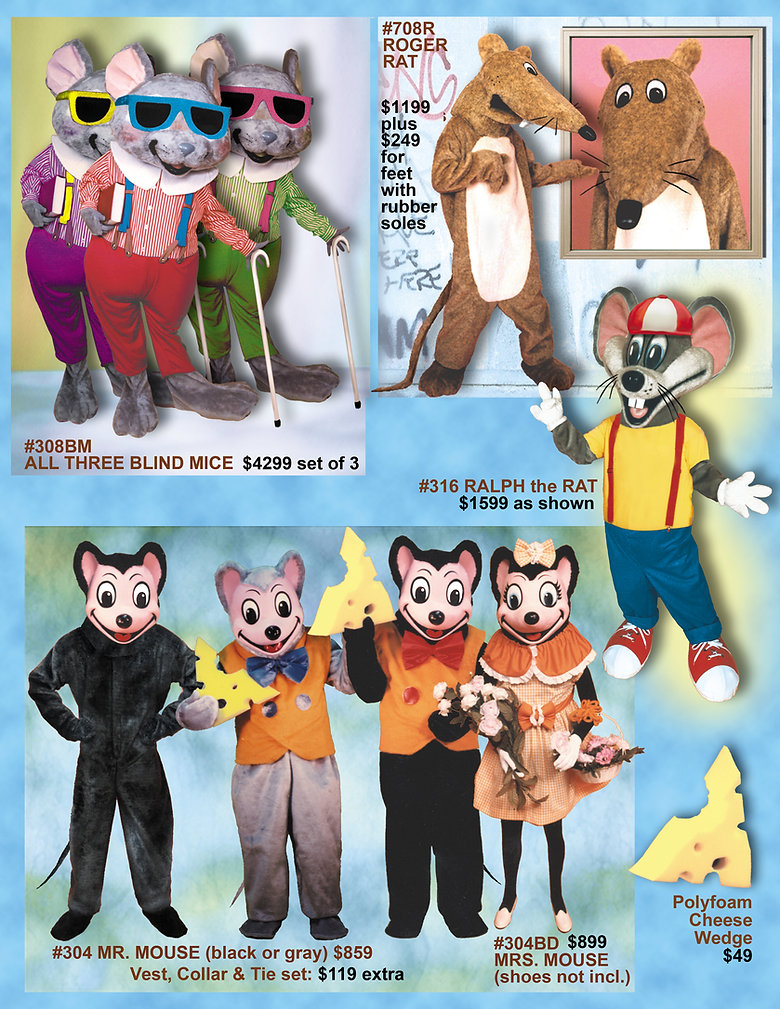 Facemakers Rat Mascot Costumes
