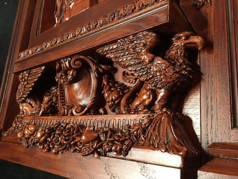 Titanic clock griffins and cartouche.
