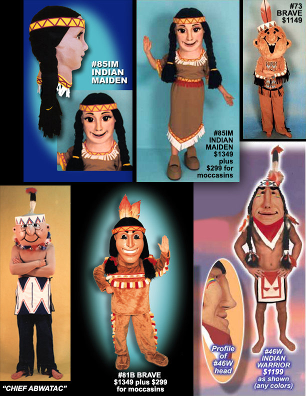 Facemakers Indian Chief Mascot Costumes