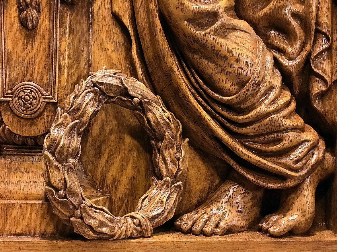 "Detail of the full-sized RMS Titanic ""Honor & Glory"" figural panel recreation by sculptor Alan St George."