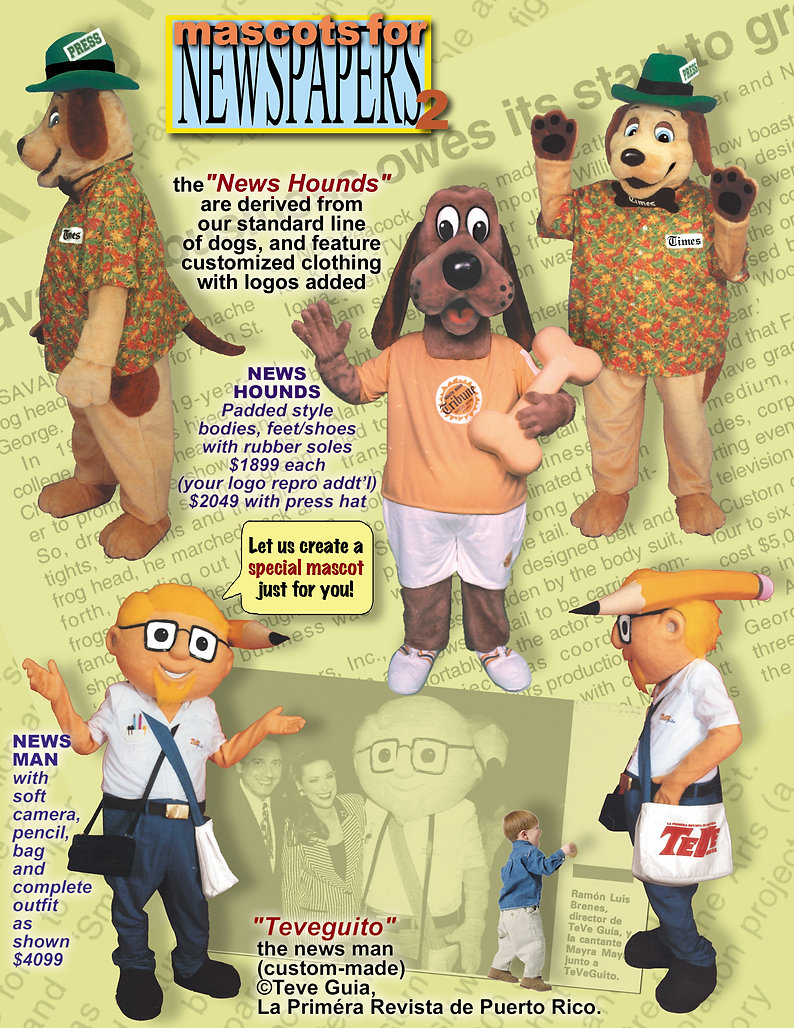 Facemakers Newspaper Company Mascot Costumes