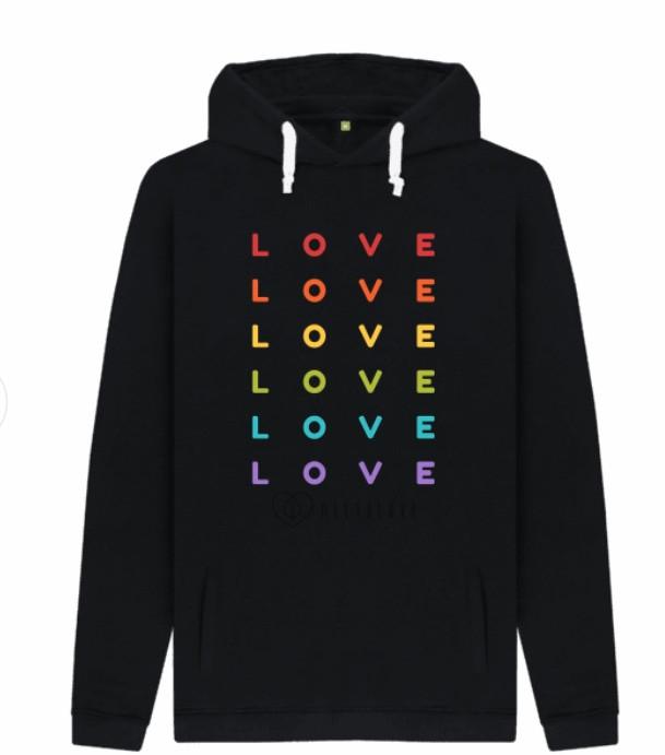 Rainbow Love Men's Black Hoodie