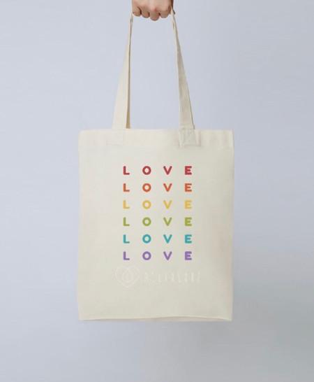 Rainbow LOVE Tote Bag - Natural