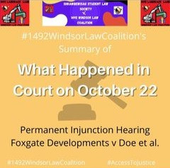 Summary of Oct 22 Injunction Hearing 1492 Land Back Lane - 1492 Windsor Law Coalition