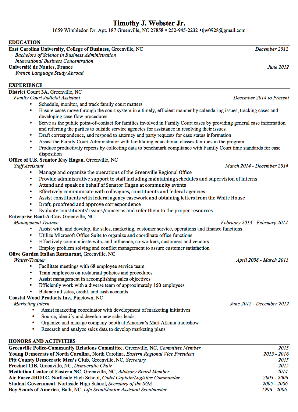 timothy webster resume