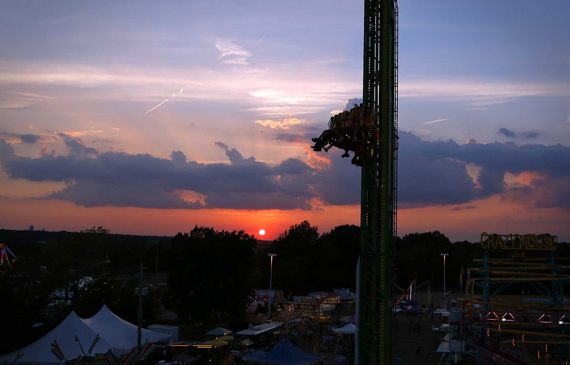 Delta Fair ride at sunset