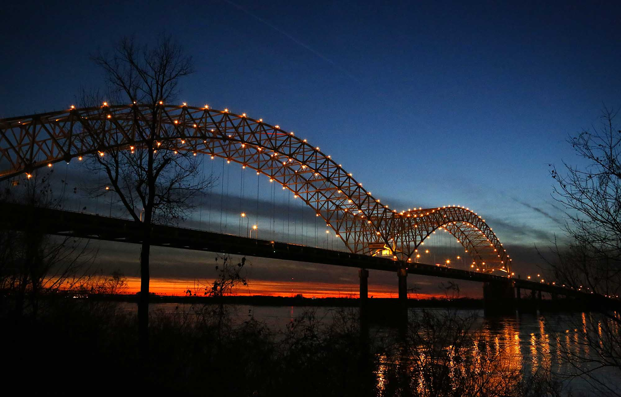 Hernando DeSoto Bridge at sunset
