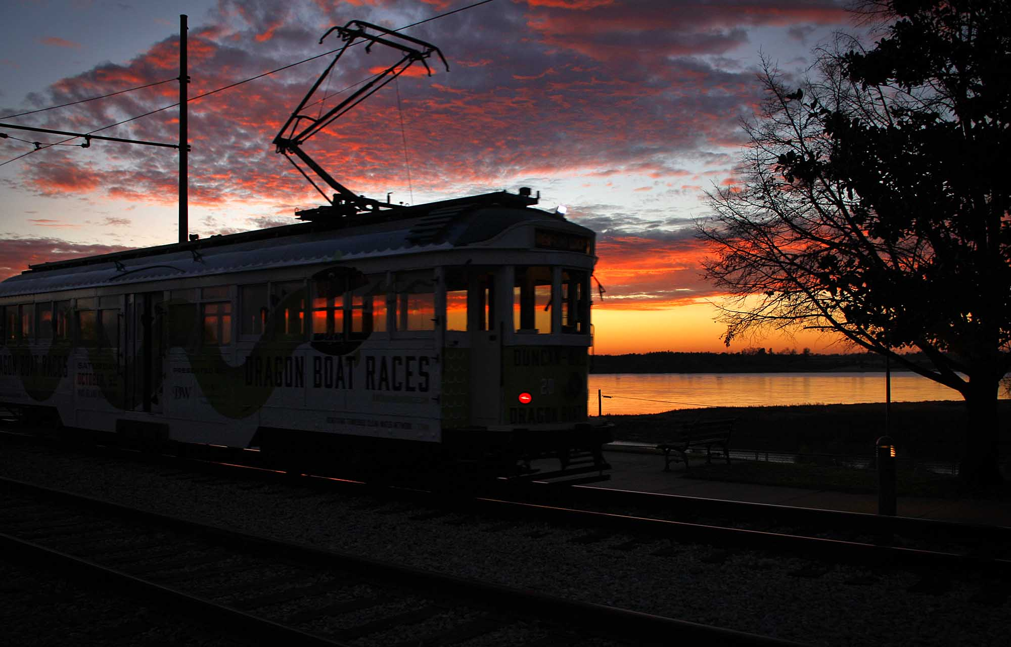 Memphis trolley at sunset