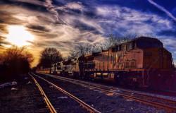 Painted-sky train in Memphis