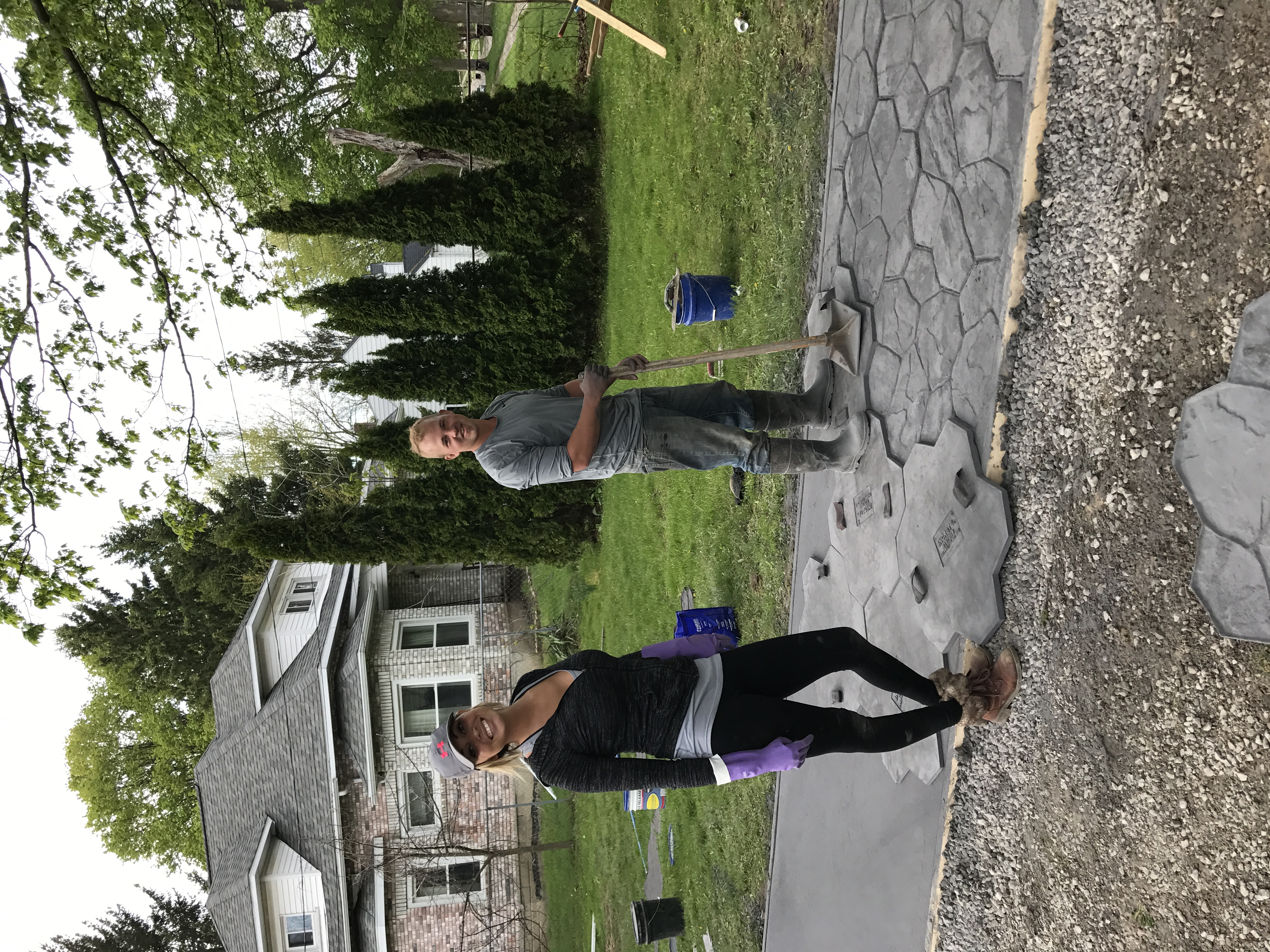 Monica & Jesse Stamping Concrete