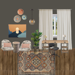 Bohemian/Eclectic Home Office Concept Board