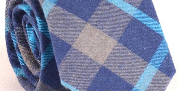 Corbata Tartán lana Azul