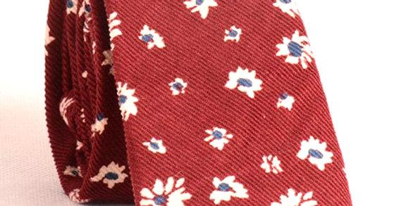 Corbata de lana Crisantemo vino tinto