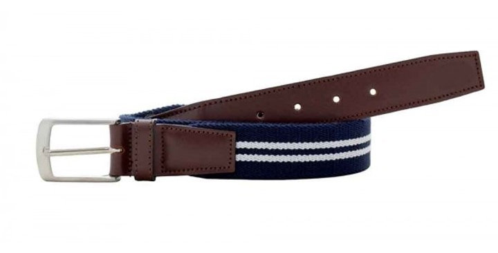 Cinturón 38535 Marino & doble raya blanca