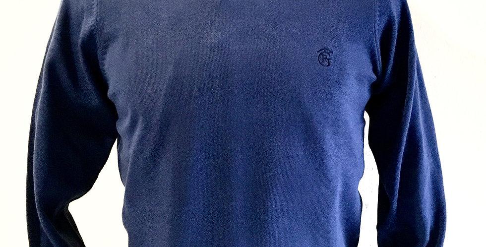 Jersey punto-cuello caja Azul