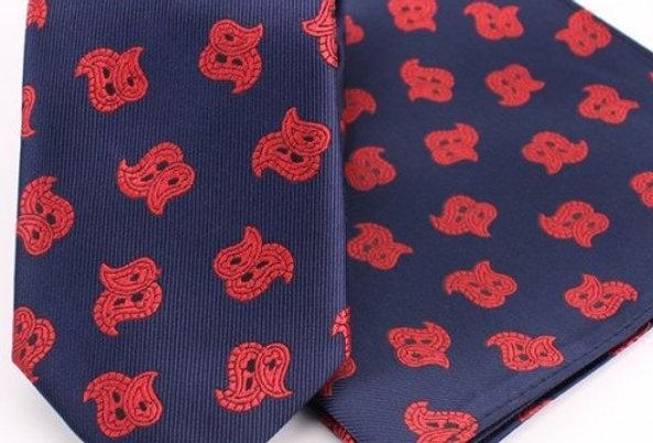Corbata cashmire azul-rojo