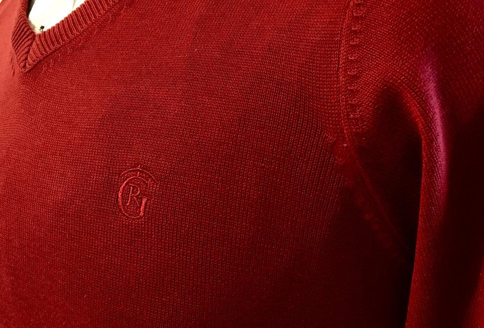 Jersey punto-cuello pico Rojo