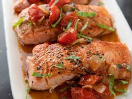 Slow Baked Salmon with Sweet Tomatoes, Olives & Potatoes