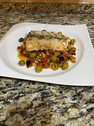Roast Cod with Caponata