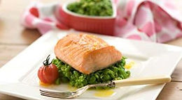 Pan Fried Salmon with Pea & Citrus Crush
