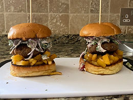 Pork Burger with Spicy Apple Chutney & Slaw