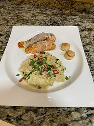 Salmon & Scallops with Ginger & Lemongrass Risotto