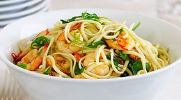 Chilli Prawns with Linguine